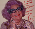 Dame Edna of Alley MacBeal fame loves LIP INK® Semi-Permanent Cosmetics!