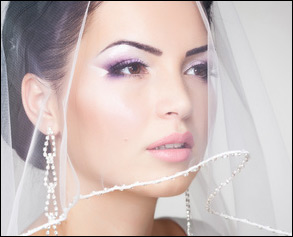Bride with veil wearing Lip Ink